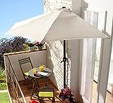 Spetebo Halbrunder Wand-Sonnenschirm 270cm - weiß