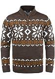 !Solid Norwin Herren Weihnachtspullover Norweger-Pullover Winter Strickpullover Troyer Grobstrick mit Stehkragen, Größe:S, Farbe:Coffee Bean Melange (8973)