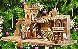Weihnachtskrippe-Krippenstall KB70ng-MFPO-BRK- XXL 70cm Mittelalter Burg-Weihnachtskrippe-Krippenstall, mit LED + Brunnen + Dekor, Massivholz edel GEFLAMMT