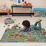 Carpet Studio Spielteppich Straße 95x133cm, Kinderteppich für Schlafzimmer, Kinderzimmer & Spielzimmer Junge & Mädchen, Waschbar, Einfach zu Säubern, rutschfest - Playcity