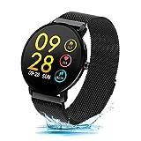 Duang Smart Watch, Fitness Tracker Uhr IP68 Wasserdichter Aktivitäts-Tracker Pulsmesser/Blutdruckmessgerät Schrittzähler, Schlaf-Monitor für Damen Herren, IOS/Android (Schwarz)