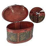 Betued Schmuck Aufbewahrungsbox, Vintage Desktop Tee Kuchen Veranstalter Holz Aufbewahrungsbox Schmuck Container für Frauen Ohrringe Ringe