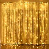 Led Lichterkette 3x3m, 300 Led Lichtervorhang mit 8 Lichtmodellen Party Dekoration Weihnachtsbeleuchtung Wasserdicht Außen für Garten, Innen für zimmer- Warmweiß