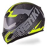 NENKI Motorradhelm Integralhelm NK-856,Rollerhelm Sturzhelm mit Doppelvisier Sonnenblende, Glasfaser Schale, ECE-geprüft (Mattschwarz Neongelb-S)