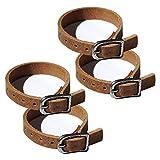 Wolfszeit Lederriemen 4er Pack - aus echtem, stabilen, braunen Büffelleder - mit Metallverschluss (20cm)