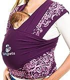 Halten sie ihr Kleinkind ruhig & bleiben sie dabei freihändig - stylisches multifunktionales Babytragetuch - Baumwoll Tragetuch für Neugeborene und Kleinkinder - Tragetasche inklusive - LILA