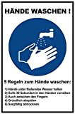 5 Stück 29,5 x 19,5 cm Aufkleber Hände waschen Regeln/Anleitung - Händewaschen Hygiene
