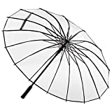 ADRIANO PORCARO® - Automatik transparenter Regenschirm - windsicher Stockschirm - 16 fache Verstrebung - groß stabil & windresistent sturmfest - 105cm Ø (Transparent)
