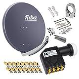 FUBA 85cm für 8 Teilnehmer (Direktanschluss) Digital SAT Anlage DAA850A + Octo LNB schwarz 0,1dB Full HDTV 4K 3D + 16 Vergoldete F-Stecker und F- Montageschlüssel gratis dazu