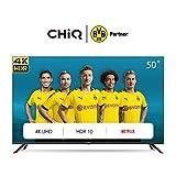 CHiQ U50H7L Rahmenloser UHD Fernseher 50 Zoll TV 4k Randlos Smart TV 126 cm Bilddiagonale [Made in EU] (Version 2020, Ultra HD, Amazon Prime Video, Youtube, Netflix) , Schwarz