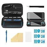 Bestico Zubehör Set für New Nintendo 2DS XL, Beinhalteteine Tasche für Nintendo DS (New 3DS XL/3DS/3DS XL/New 3DS)mit 16 Spielpatronen Slots+ Tragegurt+4 Display Schutzfolie+Touchscreen Pen (Kits)