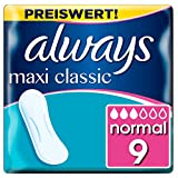 Always Maxi Classic Damenbinden ohne Flügel (9 Stück) sicherer Schutz an allen Tagen der Periode, weich und sanft zur Haut