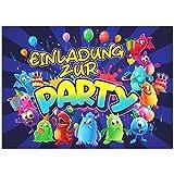 VULAVA 12x EINLADUNGSKARTEN für Party und Kindergeburtstag - die Karten im frech bunten Monster Design sind die perfekte EINLADUNG für Jungen Mädchen Kinder zum Geburtstag Einschulung und KINDERPARTY