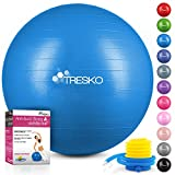 TRESKO® Anti-Burst Gymnastikball 55cm 65cm 75cm 85cm | Sitzball | Yogaball | 300 kg | mit Luftpumpe (Blau, 65cm (geeignet für 155-175cm))