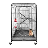 HENGMEI Nagervoliere mit Rollen Nagervilla Resort Hamsterkäfig Kleintierkäfig Mäusekäfig Rattenkäfig mit 2 Türen (Klein)