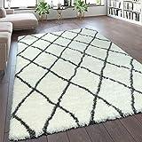 Paco Home Teppich Wohnzimmer Creme Weiß Weich Groß Shaggy Flokati Rauten Muster Hochflor, Grösse:120x160 cm