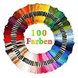 BENEFAST Stickgarn,100 Farben Embroidery Floss, 8M 6-Fädig Polyester Baumwolle Stickerei,Häkeln perfekt für Freundschaftsbänder, DIY Haarringe, Knüpfen, Basteln, Kreuzstich