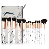 Make Up Pinsel Set, Komake Kosmetikpinsel Foundation Pinsel Set Gesichtspinsel Make Up Schminkpinsel Lidschattenpinsel Augenpinsel Lippenpinsel mit Marmor Kosmetiktasche (15 Stücke)