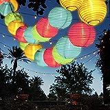 Solar Lichterkette Außen Lampions, FOCHEA Lichterkette Außen 9,3 m 50 LED 8 Modi Wasserdicht Solar Lichterketten mit Fernbedienung und 3 Ersatzlaternen für Aussen,Garten, Party