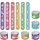 Lynlon 12 x Einhorn Schnapparmbänder   Klatscharmband für Mitgebsel Kindergeburtstag Jungen und Mädchen, als Gastgeschenke