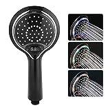 Garosa LED Duschkopf 3 Farbwechsel Wassersparend Handbrause mit Digital Temperatur Anzeigen Badezimmer Zubehör (Schwarz)