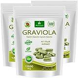 MoriVeda® - Graviola Kapseln 360 x 1800mg Frucht Extrakt 4:1 in HPMC-Kapselhülle, vegan, Qualitätsprodukt, (3x120 Kapseln)