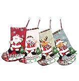 Markcur 4er Pack Deko Nikolausstiefel zum Befüllen Weihnachts Süßigkeitstasche Geschenktüte Weihnachtsstrumpf Dekoration