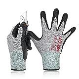 DEX FIT Level 5 Schnittschutzhandschuhe Cru553, 3D-Comfort Stretch Fit, Power Grip, Langlebiger Nitrilschaum, Smart Touch, Dünn & Leicht, Maschinenwaschbar, Grau Mittel 1 Paar
