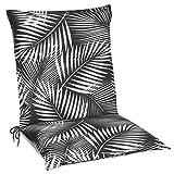 Beautissu Tropic Niedriglehner Auflage für Gartenstuhl – Sitzpolster 100x50 cm Polsterauflage UV-Lichtecht – Stuhlauflage schwarz mit Palmblättern