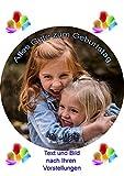 Essbares Foto für Torten, Tortenbild, Kindergeburtstag, Tortenaufleger mit eigenem Foto und Text frei gestalten - Super Qualität, 9541