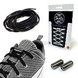 Senkly Elastische Schnürsenkel mit Metallkapsel für Sneaker (Schwarz-Gunmetal)