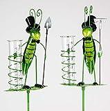 Geschenk-Himmel Gartenstecker Regenmesser, Grashüpfer mit Schaufel oder Rechen,145 cm (Rechen)