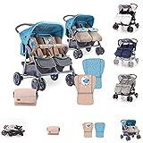 Lorelli Zwillingskinderwagen TWIN Wickeltasche Einhand-Klappsystem Fußabdeckung, Farbe:blau