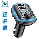 Wodgreat FM Transmitter Auto Bluetooth Adapter Freisprechanlage Car Kit Radio Transmitter Wireless FM Radio Adapter mit Dual USB Ports Unterstützt TF Karte & USB-Stick mit Blauem Hintergrundlicht