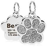 TagME Personalisierte Hundemarke/Edelstahl Hundemarke mit eingraviertem Namen und Telefonnummer/Prickelnde Pfotenform/Groß/Silber