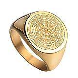 HIJONES Herren Edelstahl Retro Kompass Mysteriösen Ring 2 Farben Gold Größe 60
