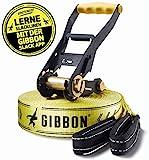 Gibbon Slacklines Classic Line, Gelb, 15 Meter (12,5m Band + 2,5m Ratschenband), inkl. Ratschenschutz, Breite 2'/5cm