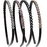 LONEEDY 4 Stück Fashion Strass und Kristall Harte Stirnbänder Anti-Rutsch Zähne Haarband für Frauen …