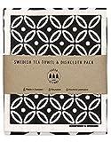 SUPERSCANDI Geschirrtuch & schwedisches Geschirrtuch Geschenkset (Geschirrtuch & Geschirrtuch Geschenkset, Art Deco Weiß auf Schwarz)