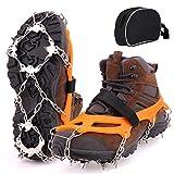 CENXINY Steigeisen mit 19 Spikes, Steigeisen für Bergschuhe Anti Rutsch Schuhkrallen Eiskrallen Eisspikes für Wandern, Bergsteigen, Angeln und Winter Outdoor Sport, XL