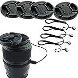 CamKix 4 Stück Snap-on Objektivdeckel oder Zentrum Pinch Objektivdeckel für Nikon, Canon, Sony und andere DSLR-Kameras – Inklusive EIN Mikrofaser Reinigungstuch (49mm)