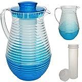 alles-meine.de GmbH 2,4 Liter - große Kühl - Kanne / Krug / Getränkespender - mit EIS Kühlelement - blau - Karaffe Kühlkaraffe - Kühlkrug - Wasserkrug / Getränkekrug - Saftkanne ..