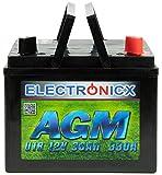 Electronicx AGM U1R 30AH 330A (EN) Batterie für Aufsitzrasenmäher, Gartengeräte, Starterbatterie, Wartungsfrei, Verschlossene AGM-Technologie