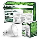 BIG HOUSE GU10 Warmweiss (3000K), 5W 400 Lumen LED Lampe Ersatz für 50W Halogenlampen, 120° Abstrahlwinkel, CRI80, 220-240V AC, 6 Stück [Energieklasse A+], 5 W, Weiß