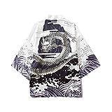 FRAUIT Herren Sommer Kimono Strand Cardigan Lose Kurzarm Japan Happi Kimono Wellenmuster T-Shirt Haori Jacke Übergangsjacke Yukata Mäntel Casual Festlich Party Kleidung
