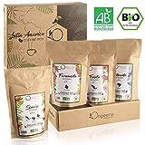 BIO Kaffeebohnen Probierset 1kg | Premium Arabica Kaffee Ganze Bohnen Set 4x250g | Traditionelle Röstung | Säurearm | Geschenk-Idee