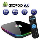 Android TV Box 9.0, 2019 Das neueste Android Box 4 GB RAM 32 GB ROM H6 Quad Core Cortex-A53 Smart TV Box, unterstützt 6K 3D-Auflösung 2,4 GHz WiFi Ethernet USB 3.0 Media Player