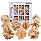 ALLESOK 9St. Holz Knobelspiele Set Puzzle 3D Brainteaser Knifflige Rätsel Logikspiele Geduldspiele Adventskalender Inhalt für Kinder und Erwachsene, Anleitung dabei