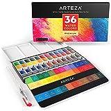 Arteza Aquarellfarben, Set mit 36 verschiedenen Wasserfarben, Aquarellfarbkasten mit Wassertankpinsel, Malfarben im robusten Metallkasten, zum Malen & Mitnehmen