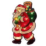 CAOLATOR Weihnachtsmann Silhouette LED-beleuchtet Metallic-Silhouette Weihnachten Fensterbilder Weihnachten Leuchtend Weihnachtsfenste